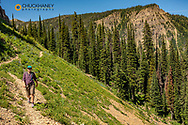 Hiking on the Highline Trail in the Ten Lakes Scenic Area in the Kootenai National Forest near Eureka, Montana, USA MR