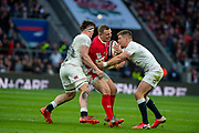 Twickenham, England, 7th March 2020, Hadleigh PARKES,  going through the gap [L] Tom CURREY,  and [R]Owen FARRELL, Guinness Six Nations, International Rugby, England vs Wales, RFU Stadium, United Kingdom, [Mandatory Credit; Peter SPURRIER/Intersport Images]
