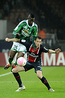FOOTBALL - FRENCH CHAMPIONSHIP 2011/2012 - L1 - PARIS SAINT GERMAIN v AS SAINT ETIENNE - 2/05/2012 - PHOTO JEAN MARIE HERVIO / REGAMEDIA / DPPI - SYLVAIN ARMAND (PSG) / BAKARY SAKO (ASSE)