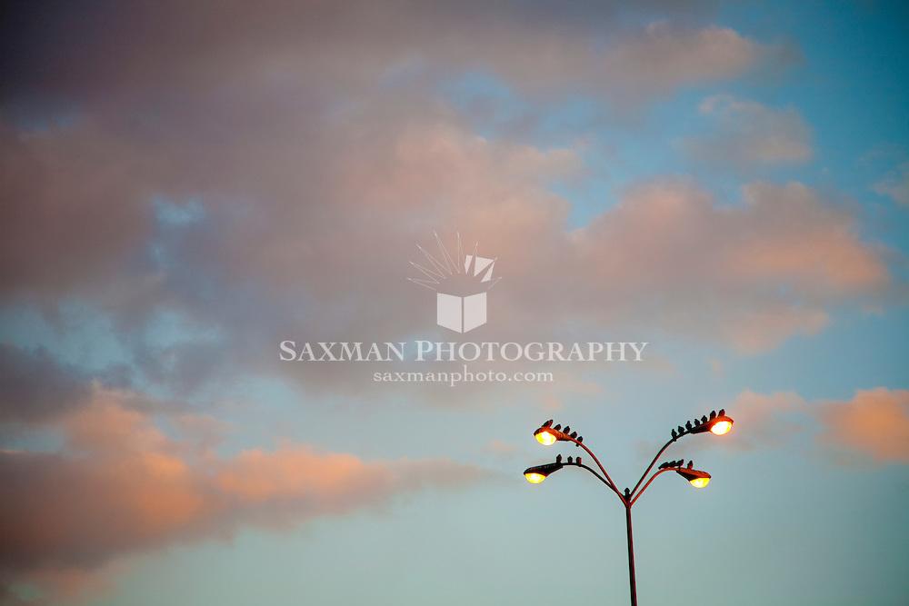sky, clouds, sunset, lights, lamppost