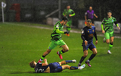 George Lapslie of Mansfield Town tackles Aaron Collins of Forest Green Rovers- Mandatory by-line: Nizaam Jones/JMP - 14/11/2020 - FOOTBALL - innocent New Lawn Stadium - Nailsworth, England - Forest Green Rovers v Mansfield Town - Sky Bet League Two