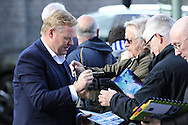 Everton Manager Ronald Koeman signs autographs outside the stadium before the game. Premier League match, Burnley v Everton at Turf Moor in Burnley , Lancs on Saturday 22nd October 2016.<br /> pic by Chris Stading, Andrew Orchard sports photography.