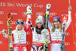 22.03.2015, Roc de Fer, Meribel, FRA, FIS Weltcup Ski Alpin, Meribel, Riesenslalomweltcup Gesamt, Damen, Siegerehrung, im Bild v.l. Eva-Maria Brem (AUT, 2. Platz), Anna Fenninger (AUT, 1. Platz), Mikaela Shiffrin (USA, 3. Platz) am Podium für den RiesenslalomWeltcup // second placed Eva-Maria Brem of Austria ( L ), first placed Anna Fenninger of Austria ( C ), third placed Mikaela Shiffrin of the USA ( R ) during the overall winner Ceremony for the lady's Giant Slalom FIS World Cup at the Roc de Fer in Meribel, France on 2015/03/22. EXPA Pictures © 2015, PhotoCredit: EXPA/ Erich Spiess