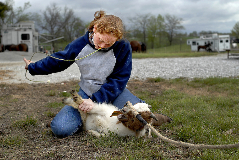 Casey Chasteen, 18, is a two-time Missouri state champion in goat tying.