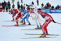 Dario Cologna (SUI 4) im Halbfinal mit Marcus Hellner (SWE 20) Alexei Petkhov (RUS 1) und John Kristian Dahl (NOR 17) © Andy Mueller/EQ Images