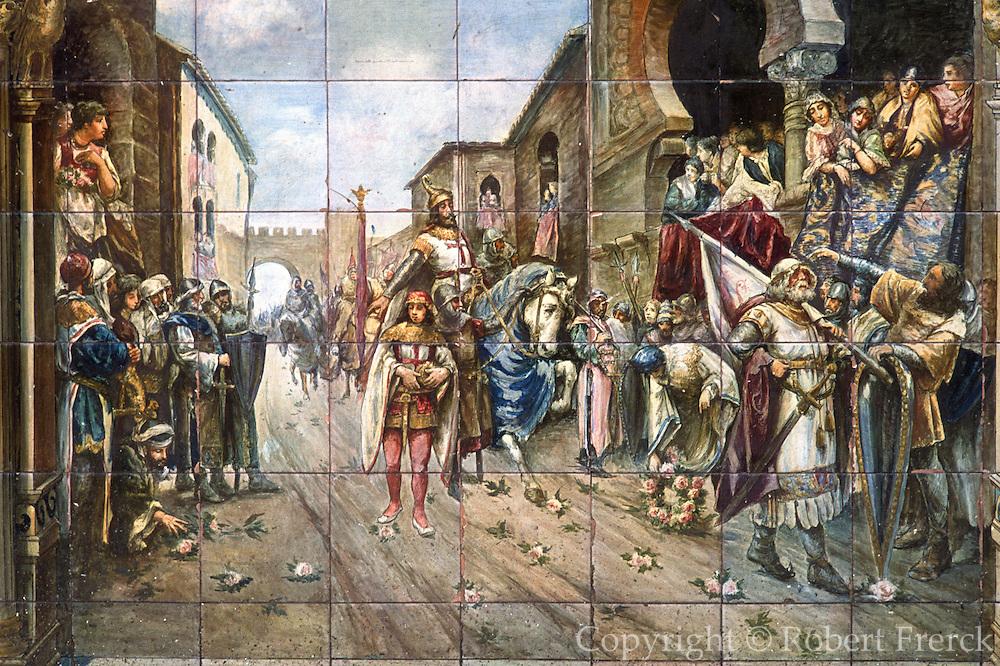 SPAIN, ANDALUSIA, SEVILLE Plaza de Espana, historic tile
