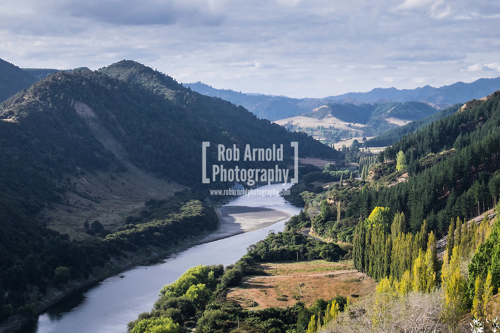 The beautiful landscape of the Whanganui River and surrounding hills