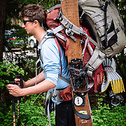 Portrait of Matt HInes of KGB Productions with loaded backpack.