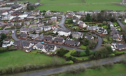 An aerial view of Lockerbie where a PanAm Boeing 747 crashed into the town after a bomb was detonated on board.