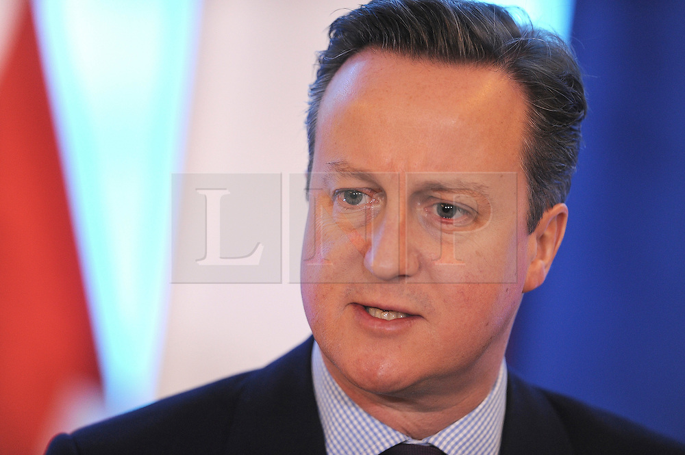 © Licensed to London News Pictures. 05/02/2016. Warsaw, Poland. British prime minster DAVID CAMERON and Polish prim minister BEATA SZYDLO hold a press conference in Warsaw, Poland as DACID CAMERON  begins his efforts to persuade his 27 EU counterparts to agree to his draft renegotiation to keep Britain in the EU. Photo credit: Maciej Gillert/LNP