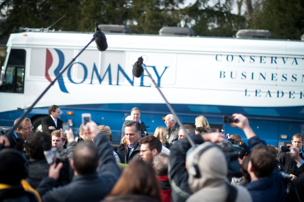 GOP Presidential candidate Mitt Romney appears at a polling station on Tuesday, Jan. 10, 2012 in Manchester, NH. (Photo by Jay Westcott/Politico)