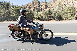 Jon Dobbs of Wisconsin riding his 1915 Harley-Davidson on the last day of the Motorcycle Cannonball Race of the Century. Stage-15 ride from Palm Desert, CA to Carlsbad, CA. USA. Sunday September 25, 2016. Photography ©2016 Michael Lichter.