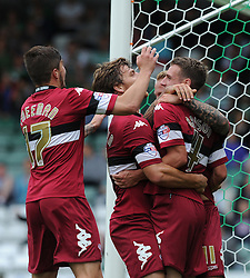 Derby County's Craig Bryson celebrates with team mates after scoring.  - Photo mandatory by-line: Alex James/JMP - Tel: Mobile: 07966 386802 24/08/2013 - SPORT - FOOTBALL - Huish Park - Yeovil -  Yeovil Town V Derby County - Sky Bet Championship