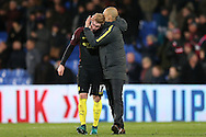 Pep Guardiola, the Manchester City manager hugs Kevin De Bruyne of Manchester City after the final whistle. Premier League match, Crystal Palace v Manchester city at Selhurst Park in London on Saturday 19th November 2016. pic by John Patrick Fletcher, Andrew Orchard sports photography.