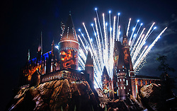 """Lights and fireworks are seen during the opening of """"the Wizarding World of Harry Potter"""" at the Hogwarts castle of the Universal Studios in Hollywood of Los Angeles, the United States, April 5, 2016. EXPA Pictures © 2016, PhotoCredit: EXPA/ Photoshot/ Yang Lei<br /> <br /> *****ATTENTION - for AUT, SLO, CRO, SRB, BIH, MAZ, SUI only*****"""