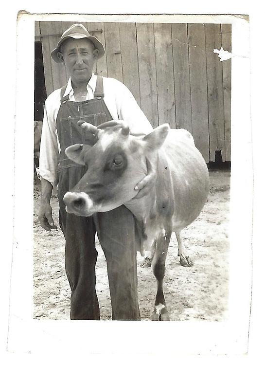 """Dad + one of jersey cows"" (written by Loretta)"
