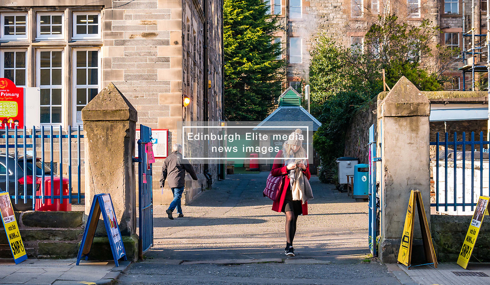 Leith, Edinburgh, Scotland, United Kingdom, 11 April 2019. Leith Walk Council By-Election:  Voters at one of the polling stations at Lorne Primary School. The election is taking place as a result of the resignation of Councillor Marion Donaldson. The election fields 11 candidates, including the first ever candidate for the For Britain Movement in Scotland, Paul Stirling.  The For Britain Movement was founded by former UKIP leadership candidate Anne Marie Waters in March 2018.  <br /> Sally Anderson/ Edinburgh Elite Media