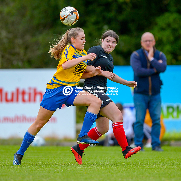 Full Time Score 2 - 2<br /> <br /> Kate Thorpe of Skryne/Tara with Balrath's Sophie Goodman during the Skryne/Tara v Balrath, North East Football League Women's Div South match, at Ross Cross, Tara.<br /> <br /> Photo: GERRY SHANAHAN-WWW.QUIRKE.IE<br /> <br /> 26-06-2021