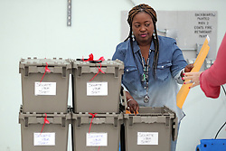 Ballot boxes are unloaded as vote counting begins at the Broward County Supervisor of Elections office in Lauderhill on Friday, November 16, 2018. Photo by Amy Beth Bennett/South Florida Sun Sentinel/TNS/ABACAPRESS.COM