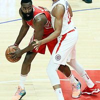 28 February 2018: LA Clippers forward Wesley Johnson (33) defends on Houston Rockets guard James Harden (13) during the Houston Rockets 105-92 victory over the LA Clippers, at the Staples Center, Los Angeles, California, USA.