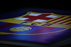February 19, 2019 - Lyon, France - Barcelona team flag during the UEFA Champions League round of 16 first leg football match between Lyon (OL) and FC Barcelona on February 19, 2019, at the Groupama Stadium in Decines-Charpieu, central-eastern France. (Credit Image: © Mehdi Taamallah/NurPhoto via ZUMA Press)