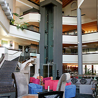 Africa, Kenya, Nairobi. Lounge and lobby at The Tribe Hotel.