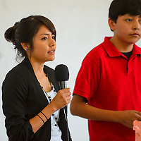 072513  Adron Gardner/Independent<br /> <br /> Sha Charley, left, and Kyle White speak about suicide warning signs and prevention and at the Youth Conference in Crownpoint Thursday.