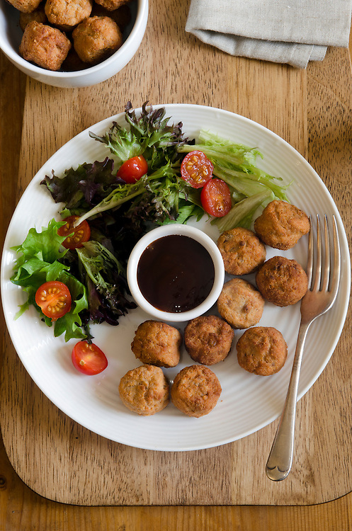 Chicken meatballs with salad and hoisin sauce