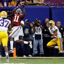 Jan 9, 2012; New Orleans, LA, USA; Alabama Crimson Tide wide receiver Brandon Gibson (11) is unable to catch a pass while defended by LSU Tigers safety Eric Reid (1) during the second half of the 2012 BCS National Championship game at the Mercedes-Benz Superdome.  Mandatory Credit: Derick E. Hingle-US PRESSWIRE