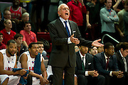 DALLAS, TX - JANUARY 21: SMU Mustangs head coach Larry Brown has words with an official against the Rutgers Scarlet Knights on January 21, 2014 at Moody Coliseum in Dallas, Texas.  (Photo by Cooper Neill/Getty Images) *** Local Caption *** Larry Brown