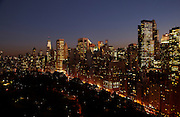 Night view of Central Park and Central Park South from 15 Central Park West, 33rd floor