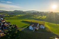 Aerial view of Morschwil, a little village in St. Gallen state, Switzerland.