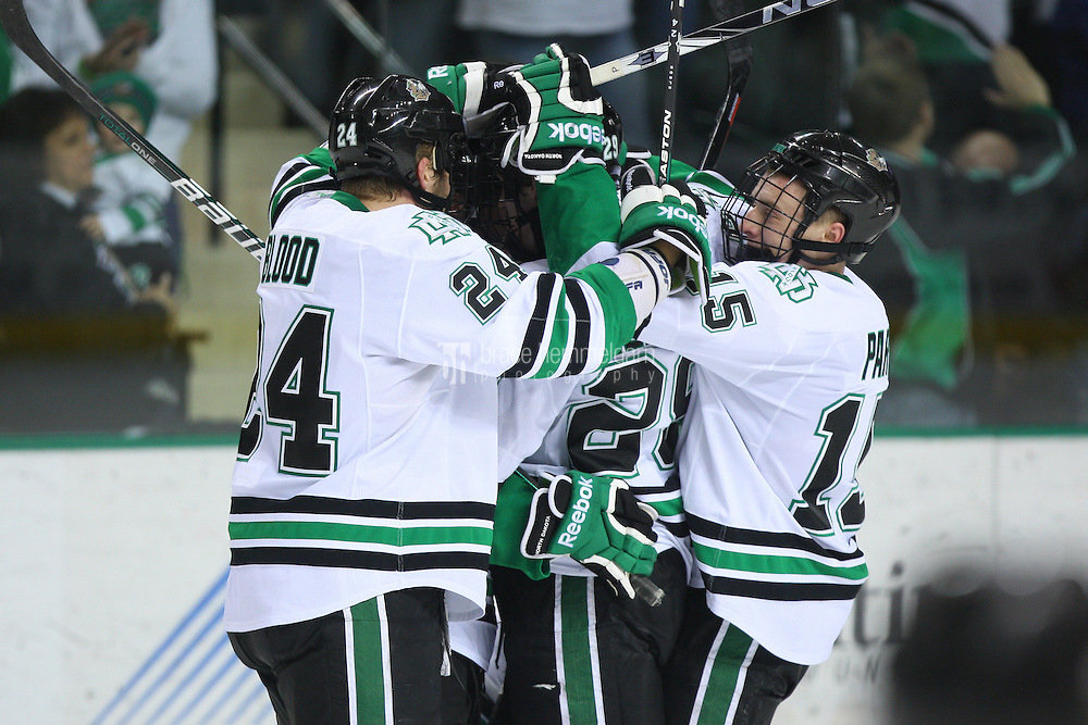 13 January 2012: North Dakota Fighting Sioux forward Brock Nelson (29) celebrates a goal with teammates against Minnesota Golden Gophers at Ralph Engelstad Arena in Grand Forks, ND. North Dakota defeated Minnesota 2-1.