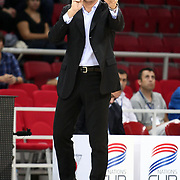 Anadolu Efes's coach Ufuk SARICA during their Two Nations Cup basketball match Anadolu Efes between Olympiacos at Abdi Ipekci Arena in Istanbul Turkey on Sunday 02 October 2011. Photo by TURKPIX