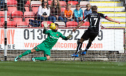 Dundee United's keeper Cammy Bell saves Dunfermline's Gavin Reilly first penalty. Dunfermline 1 v 3  Dundee United, Scottish Championship game played 10/9/2016 at East End Park.