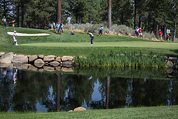 August 5, 2018 - Reno, Nevada, U.S - Sunday, August 5, 2018.SAM SAUNDERS, Arnold Palmer's grandson, putts on the 15th green during the 2018 Barracuda Championship at the Montreux Golf & Country Club in Reno, Nevada...The Barracuda Championship Golf Tournament is one of only 47 stops on the PGA Tour worldwide, and has donated nearly $4 million to charity since 1999. Opened in 1997, the par-72 course was designed by Jack Nicklaus, plays at 7,472 yards (6,832 m) and its average elevation is 5,600 feet (1,710 m) above sea level...The Montrux Golf and Country Club is located midway between Reno and Lake Tahoe...The tournament champion, Andrew Putnam, received a check in the amount of $612,000. (Credit Image: © Tracy Barbutes via ZUMA Wire)