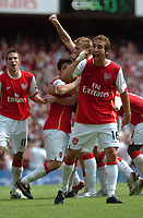 Photo: Tony Oudot. <br /> Arsenal v Fulham. Barclays Premiership. 12/08/2007. <br /> Arsenals Mathieu Flamini celebrates Hlebs winning goal