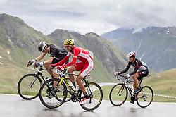 """10.07.2014, Grossglockner Hochalpenstrasse, AUT, 66. Österreich Radrundfahrt, 5. Etappe, Matrei nach St. Johann Alpendorf, im Bild v.l. Jesse Sergent (NZL), Johan Bagot (FRA), Gregor Mühlberger (AUT) beim Anstieg zur Bergwertung """"Glocknerkönig"""" // during the 66 th Tour of Austria, Stage 5, from the Matrei to St. Johann Alpendorf, Grossglockner Hochalpenstrasse, Austria on 2014/07/10. EXPA Pictures © 2014, PhotoCredit: EXPA/ Johann Groder"""
