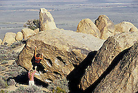 Sarah Allen and Crystal Winn bouldering at the Druid Stones; Bishop, CA<br />