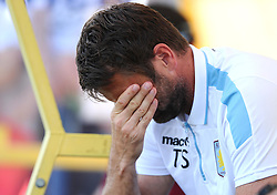 Aston Villa Manager, Tim Sherwood holds his head in his hands   - Photo mandatory by-line: Joe Meredith/JMP - Mobile: 07966 386802 - 17/07/2015 - SPORT - Football - Albufeira - Estadio Da Nora - Pre-Season Friendly