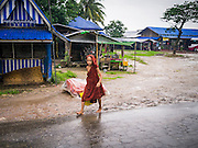 14 JUNE 2013 -  SAMALAUK, AYEYARWADY, MYANMAR:  A Buddhist novice walks through the rain along Highway 5 in Samalauk, Ayeyarwady, in the Irrawaddy delta region of Myanmar. Most Burmese men join the clergy at least once in the lives, sometimes for just a few weeks, other times for a lifetime commitment. This region of Myanmar was devastated by cyclone Nargis in 2008 but daily life has resumed and it is now a leading rice producing region.  PHOTO BY JACK KURTZ