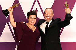 Nina Hartstone (left) and John Warhurst with the award for best sound editing for Bohemian Rhapsody in the press room at the 91st Academy Awards held at the Dolby Theatre in Hollywood, Los Angeles, USA