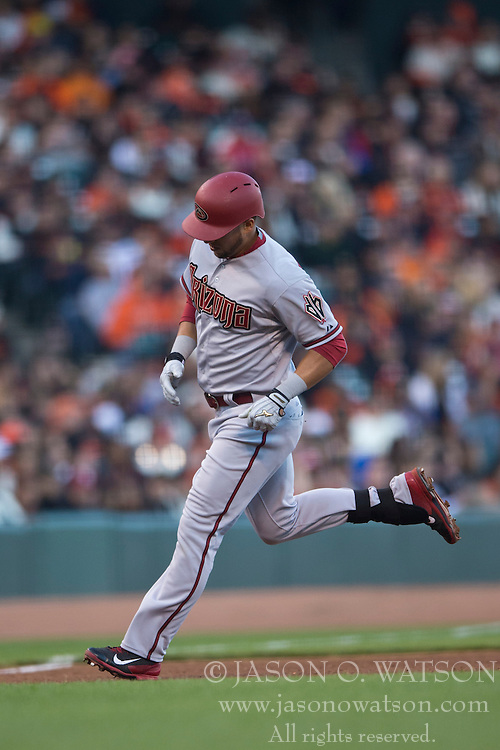 SAN FRANCISCO, CA - APRIL 18:  A.J. Pollock #11 of the Arizona Diamondbacks rounds the bases after hitting a home run against the San Francisco Giants during the fourth inning at AT&T Park on April 18, 2015 in San Francisco, California.  The San Francisco Giants defeated the Arizona Diamondbacks 4-1. (Photo by Jason O. Watson/Getty Images) *** Local Caption *** A.J. Pollock
