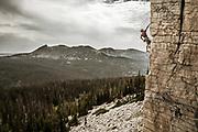Bryce Klinger on B;lackberry 5.10d, The Berry Wall, Uintas, Utah