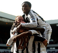 Photo: Jed Wee.<br />Sunderland v Newcastle United. The Barclays Premiership. 17/04/2006.<br /><br />Newcastle's Celestine Babayaro tops a heap of players celebrating after equalising against Sunderland.