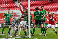 The header from Middlesbrough's Chuba Akpom hits the post before bouncing down, into the arms of Birmingham City's Neil Etheridge<br /> <br /> Photographer Alex Dodd/CameraSport<br /> <br /> The EFL Sky Bet Championship - Middlesbrough v Birmingham City - Saturday 16th January 2021 - Riverside Stadium - Middlesbrough<br /> <br /> World Copyright © 2021 CameraSport. All rights reserved. 43 Linden Ave. Countesthorpe. Leicester. England. LE8 5PG - Tel: +44 (0) 116 277 4147 - admin@camerasport.com - www.camerasport.com