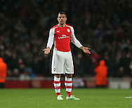 Arsenal's Lukas Podolski looks on dejected after conceding late on <br /> <br /> - Champions League Group D - Arsenal vs Anderlecht- Emirates Stadium - London - England - 4th November 2014  - Picture David Klein/Sportimage