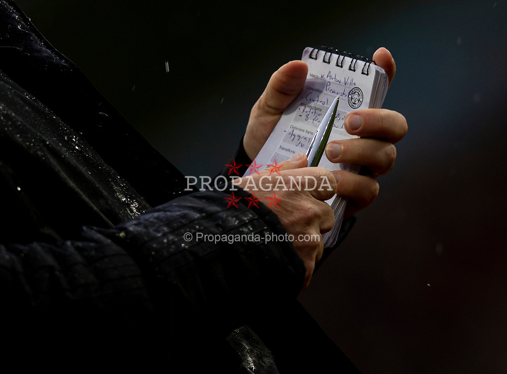 BIRMINGHAM, ENGLAND - Sunday, December 8, 2019: Leicester City's manager Brendan Rodgers makes notes during the FA Premier League match between Aston Villa FC and Leicester City FC at Villa Park. (Pic by David Rawcliffe/Propaganda)