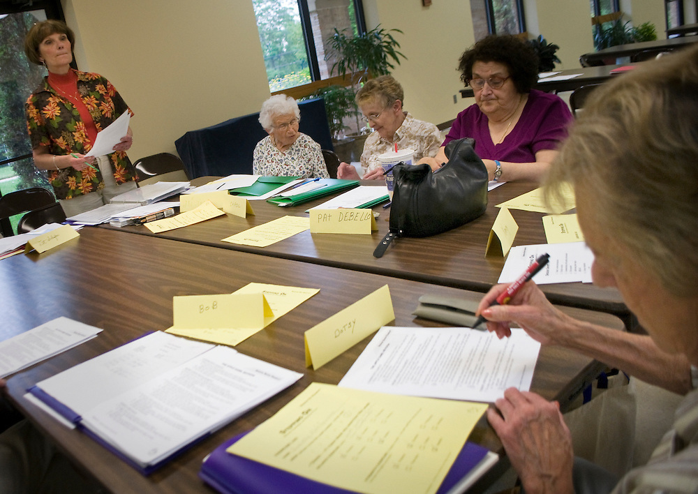 Maureen Redmer leads the class through a test covering fall prevention, Tuesday, June 15.