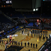 ORLANDO, FL - MARCH 23: Players from the Orlando Magic and Denver Nuggets stand for a moment of silence in remembrance of the 10 lives lost in the Boulder shooting prior to the game at Amway Center on March 23, 2021 in Orlando, Florida. NOTE TO USER: User expressly acknowledges and agrees that, by downloading and or using this photograph, User is consenting to the terms and conditions of the Getty Images License Agreement. (Photo by Alex Menendez/Getty Images)*** Local Caption ***